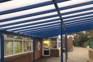 Covered walkway shelter we made for Whitgreave Primary School
