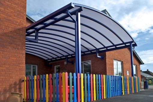 Curved roof canopy we designed for Ledbury Primary School