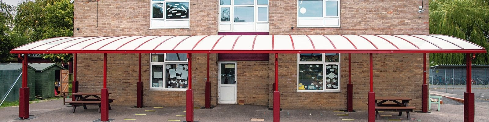 Curved roof shelter we designed for Covingham Park Primary School