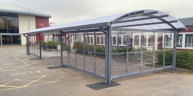 Enclosed dining shelter we designed for Archbishop Holgate School