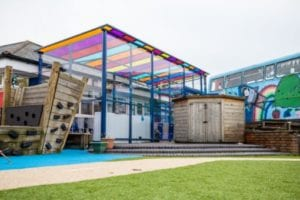 Enclosed shelter we designed for Old Church Primary School