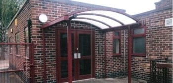 Curved roof entrance canopy we installed at English Martyrs Primary School
