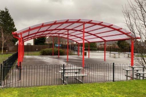 Freestanding canopy we installed at King Edward Sheldon Heath Academy