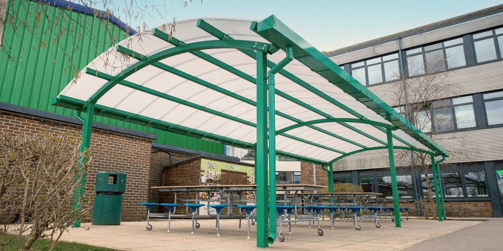 Freestanding shelter we created for Oasis Academy Coulsdon