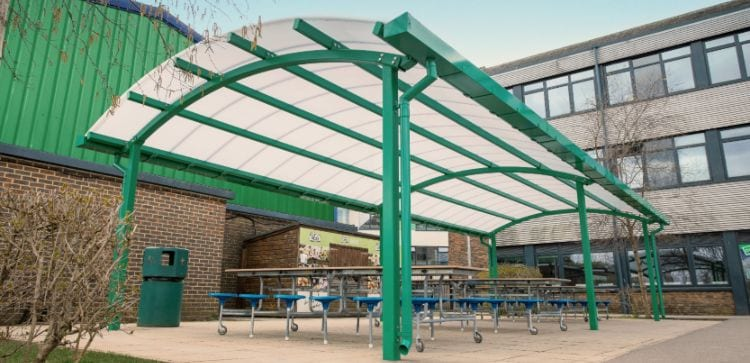 Green dining canopy we added to Oasis Academy Coulsdon