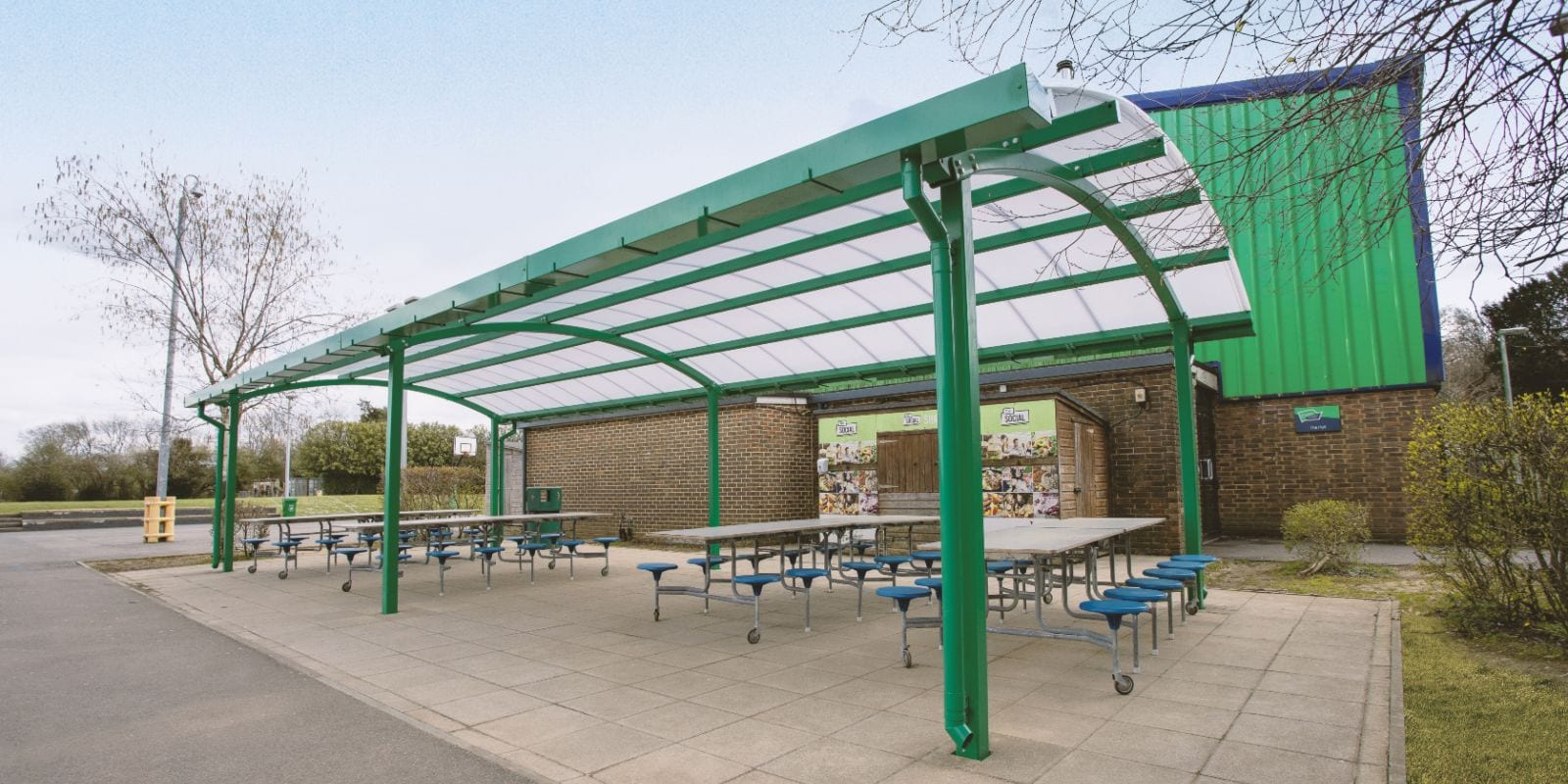 Green dining canopy we created for Oasis Academy Coulsdon