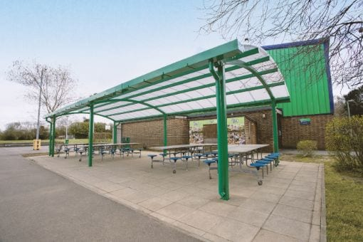Green dining shelter we made for Oasis Academy Coulsdon