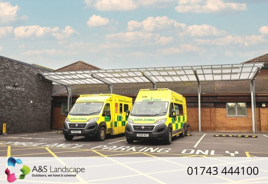 Hospital canopy we installed at Countess of Chester