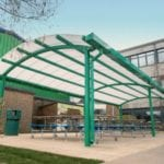 Outdoor dining canopy we designed for Oasis Academy Coulsdon