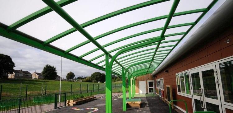 Playground cantilever canopy Ysgol Bro Alun