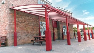 Playground shelter we designed for Covingham Park Primary School