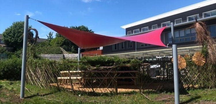 Shade sail canopy we installed at Wilkinson Primary School