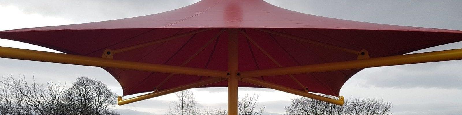 Umbrella canopy we designed for Hadrian School