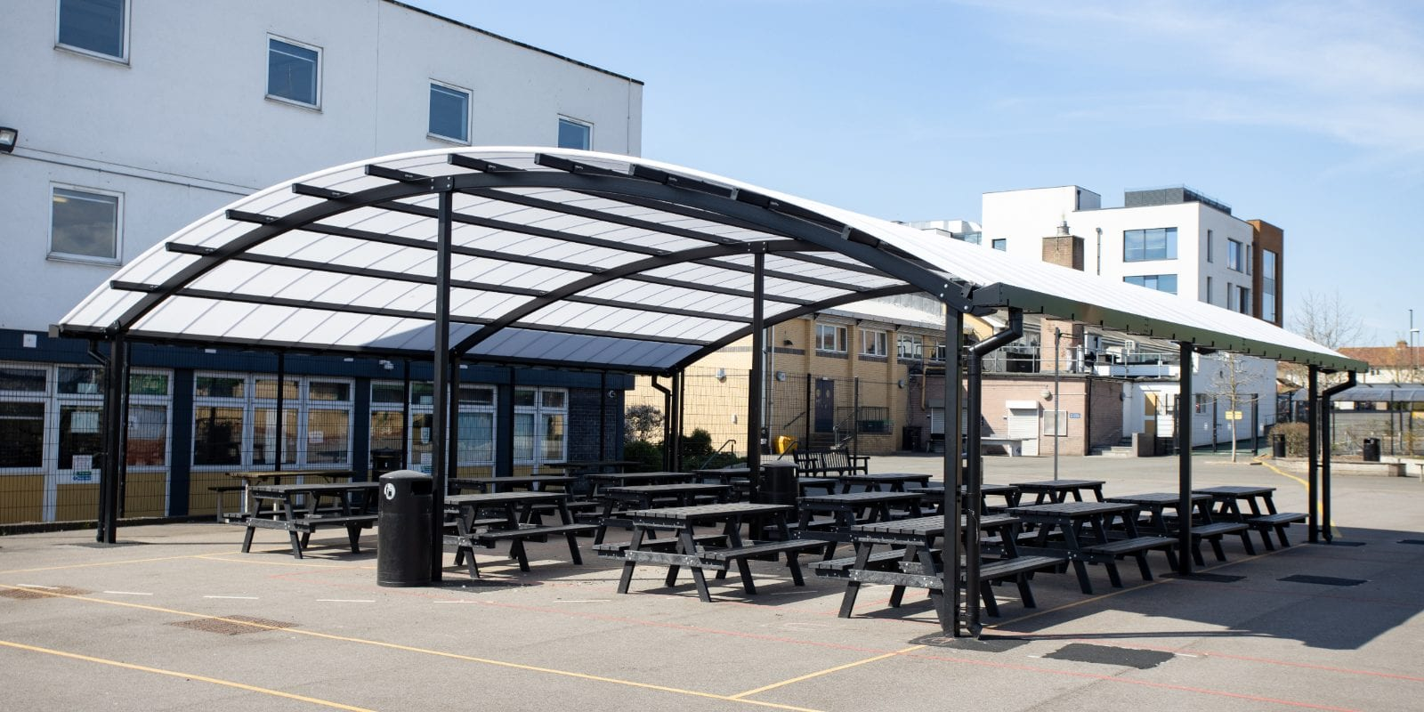 Black frame canopy we made for The Cardinal Wiseman School