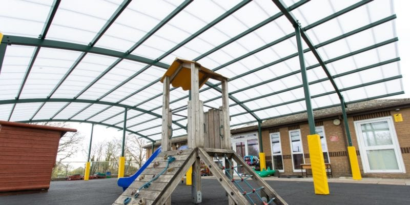 Covered playground we added to Bickleigh Down C of E Primary School