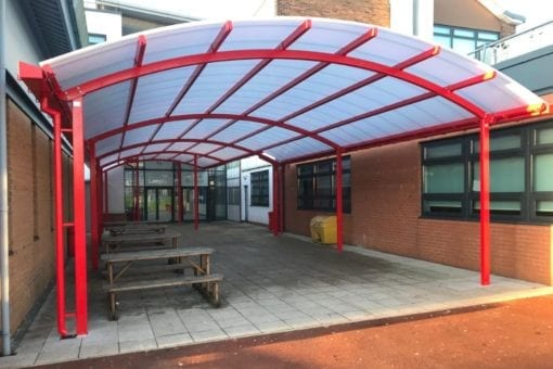 Curved roof canopy we made for Cardinal Langley RC High School