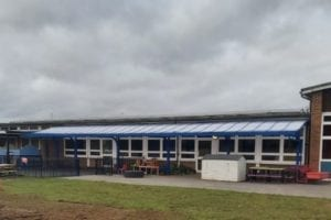Curved roof canopy we fitted at Larchfield Primary and Nursery School