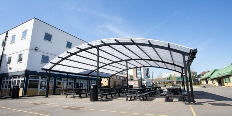 Curved roof canopy we made for The Cardinal Wiseman School