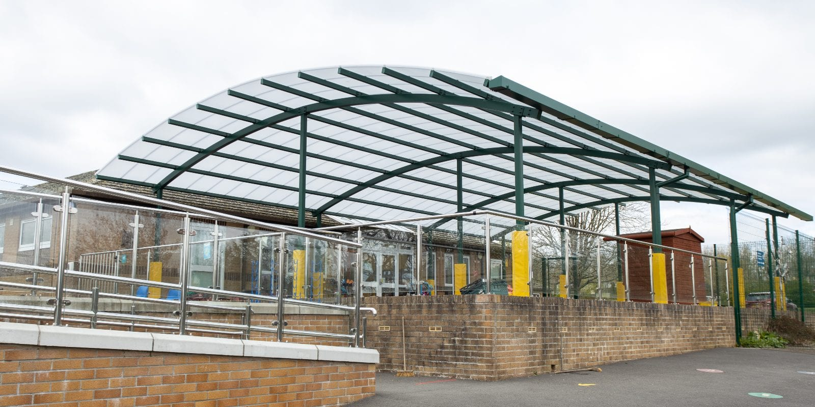 Curved roof shelter we made for Bickleigh Down C of E Primary School