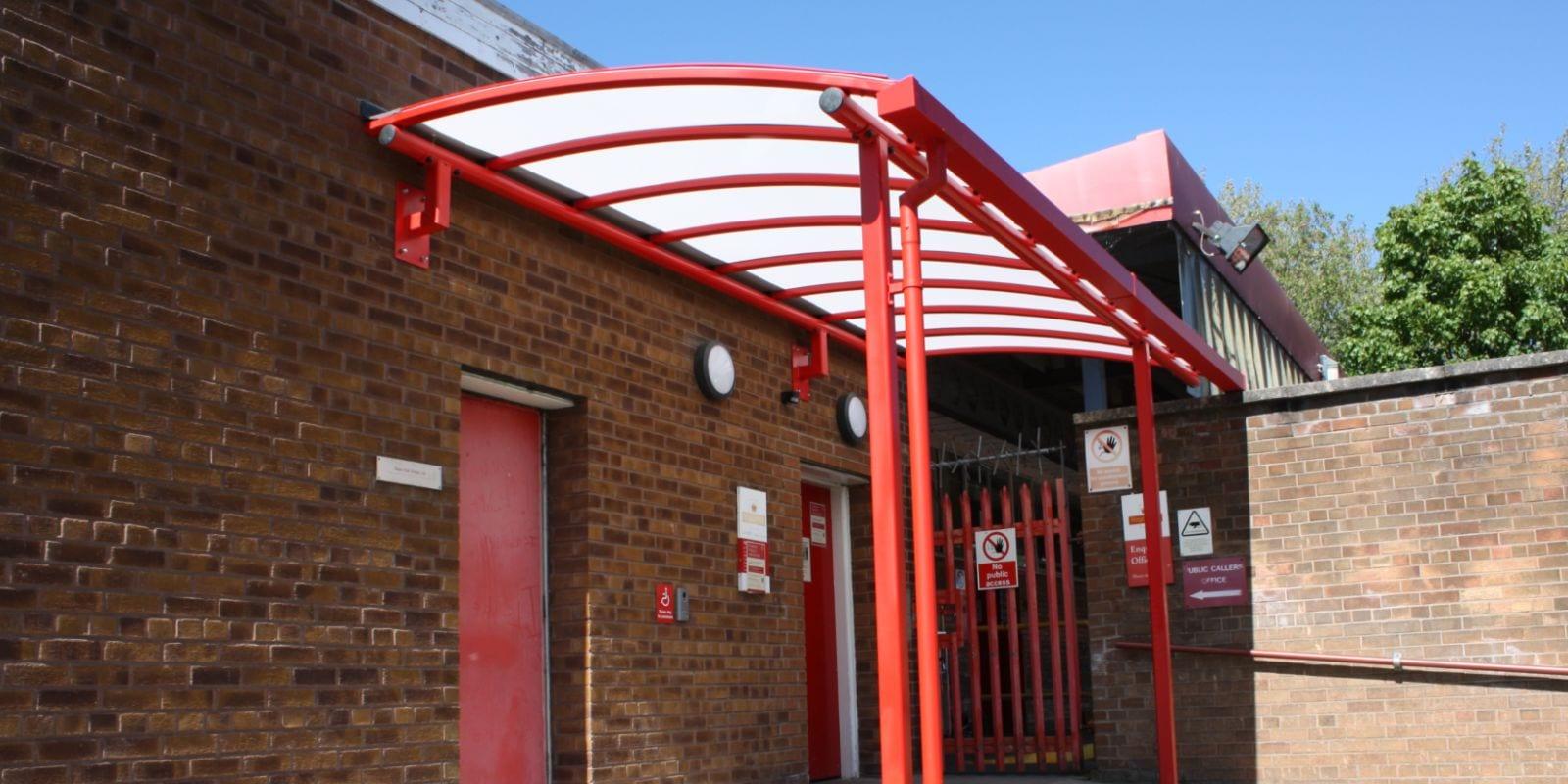 Curved roof shelter we installed at Royal Mail Middleton