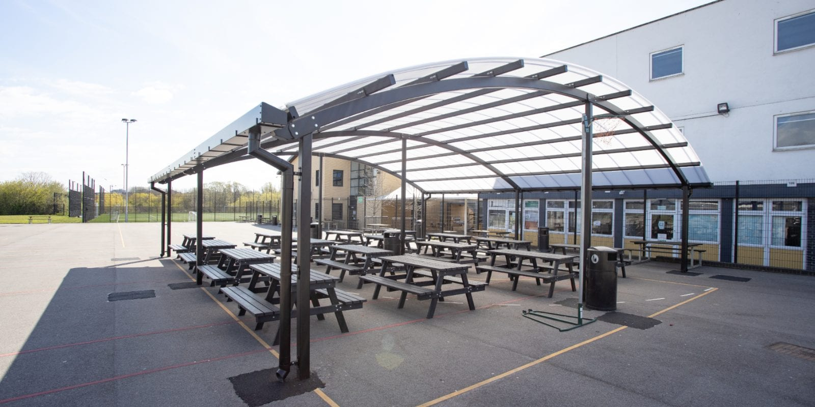 Curved roof shelter we added to The Cardinal Wiseman School