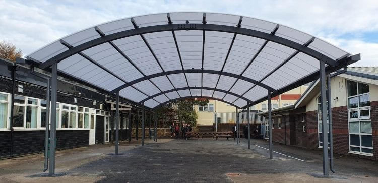 Dining area canopy we installed at The Pingle Academy