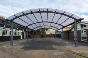 Dining area shelter we designed for The Pingle Academy