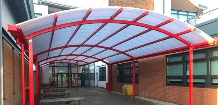 Dining canopy we installed at Cardinal Langley RC High School