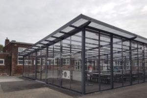 Enclosed canopy we made for St Gabriel's RC High School