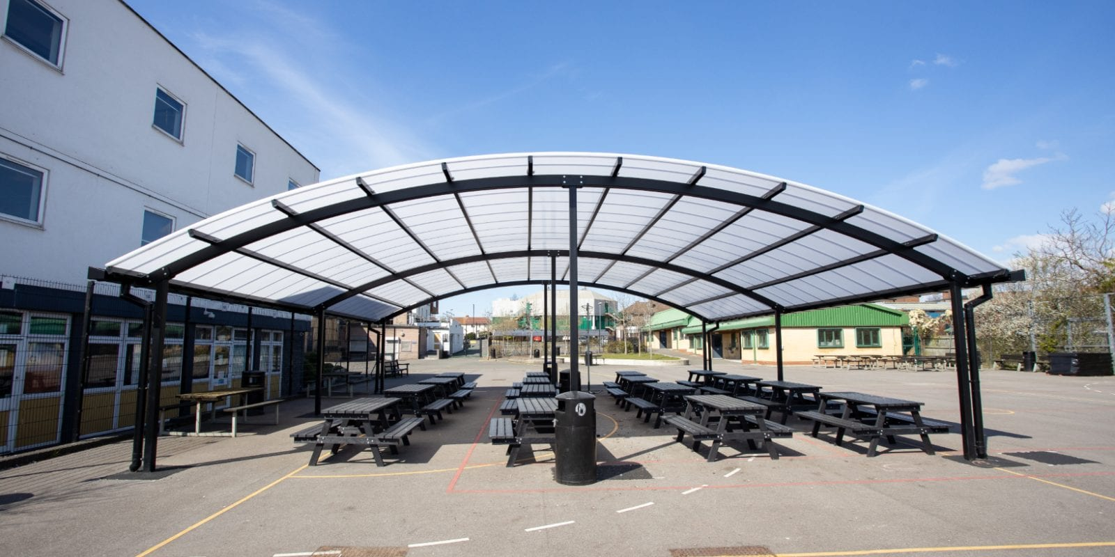 Freestanding shelter we created for The Cardinal Wiseman School