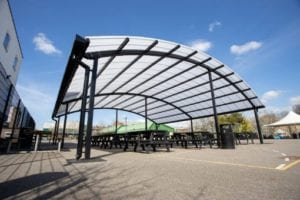 Large canopy we designed for The Cardinal Wiseman School