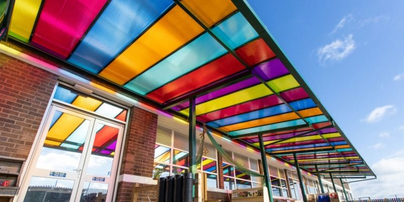 Multicoloured roof canopy we designed for Zaytouna Primary School