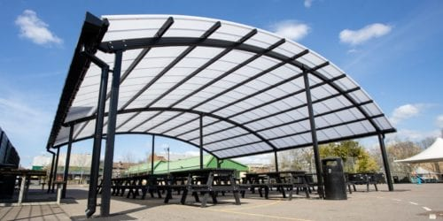 Outdoor dining canopy we made for The Cardinal Wiseman School
