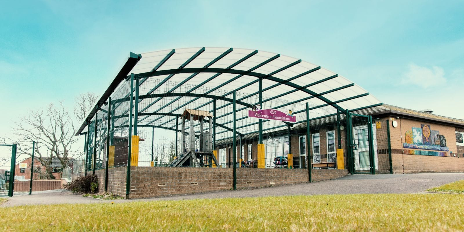 Play area canopy we made for Bickleigh Down Primary School