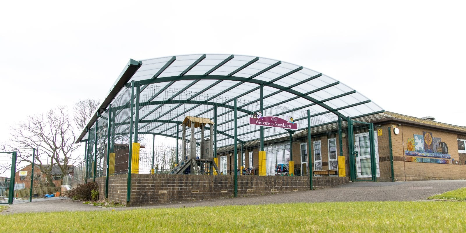 Playground canopy we installed at Bickleigh Down C of E Primary School