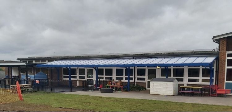 Playground canopy we designed for Larchfield Primary and Nursery School