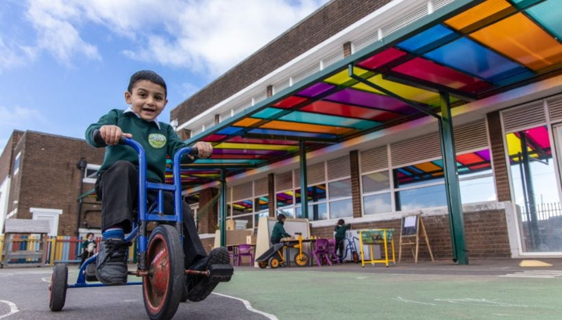 Playground shelter we installed at Zaytouna Primary School