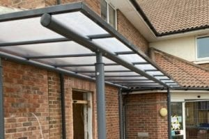 Straight roof canopy we designed for Hoveton & Wroxham Medical Centre