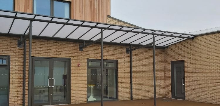 Straight roof shelter we installed at Centre of Excellence
