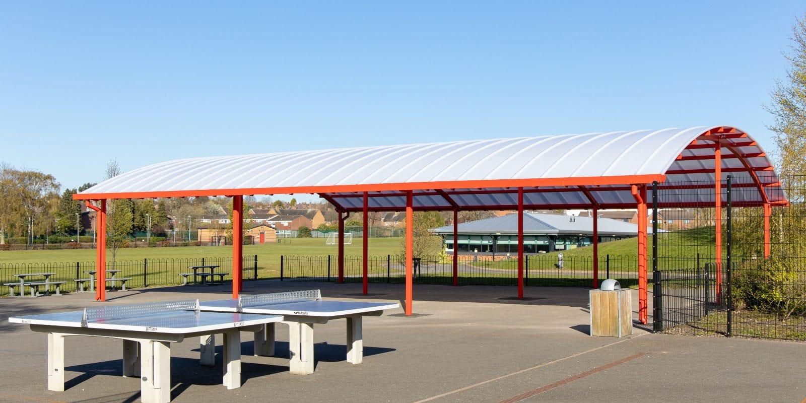 Dining area canopy we made for King Edward Sheldon Heath Academy