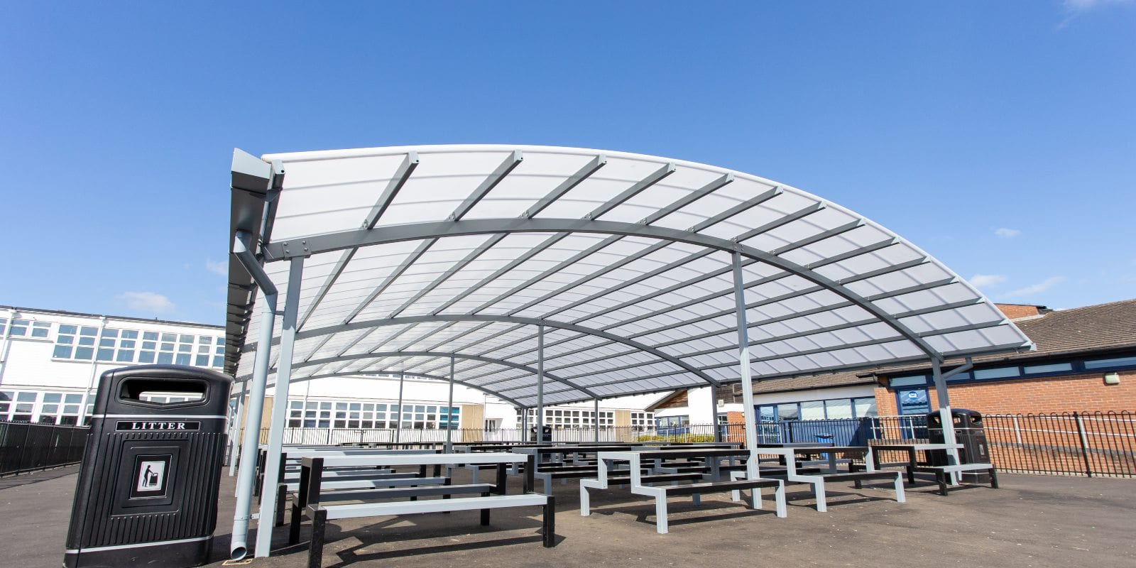 Dining area shelter we manufactured for John Taylor High School