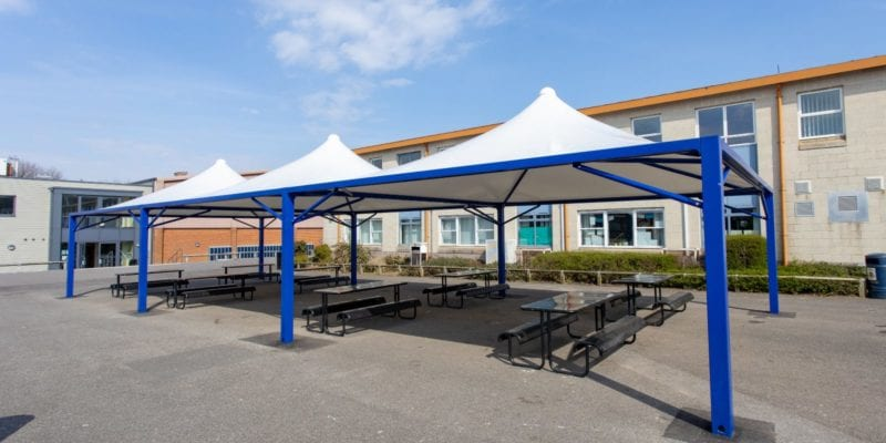 Dining canopies we installed at The Harvey Grammar School