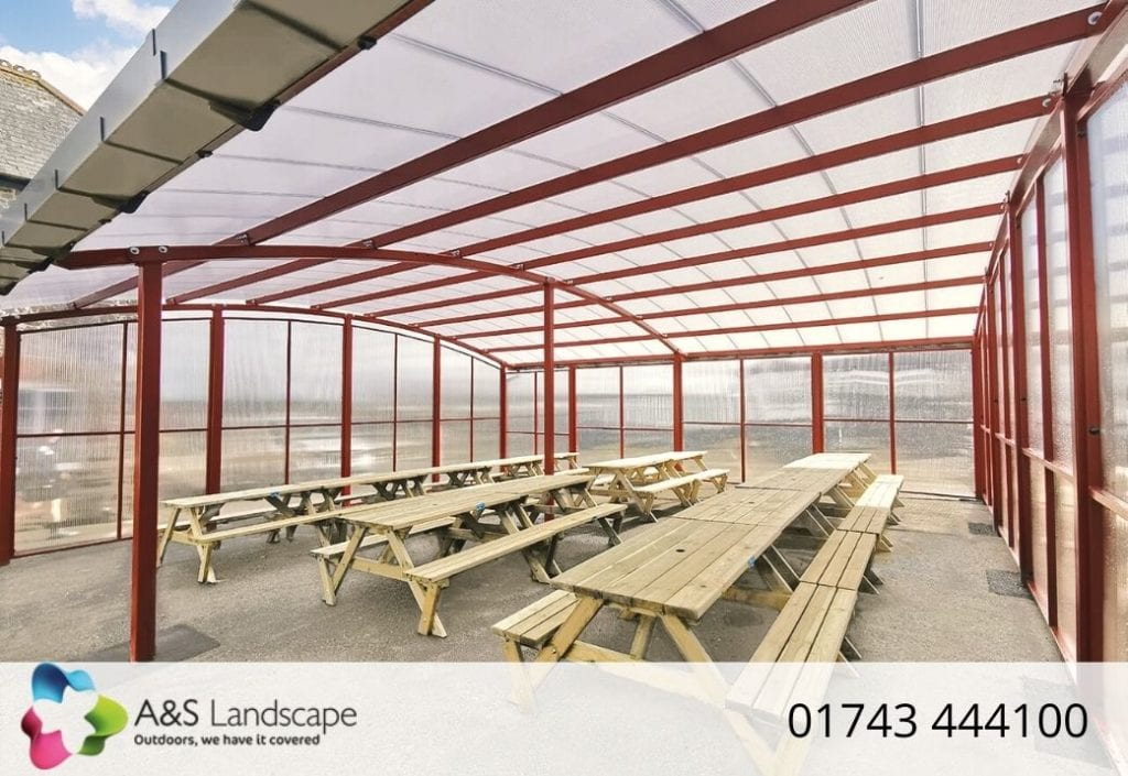 Dining shelter we designed for Poltair School