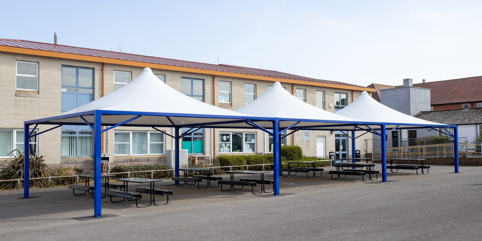 Dining shelters we fitted at The Harvey Grammar School