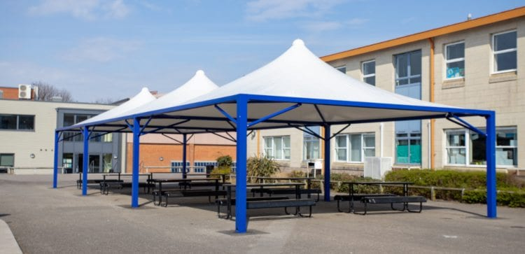 Fabric roof canopies we designed for The Harvey Grammar School