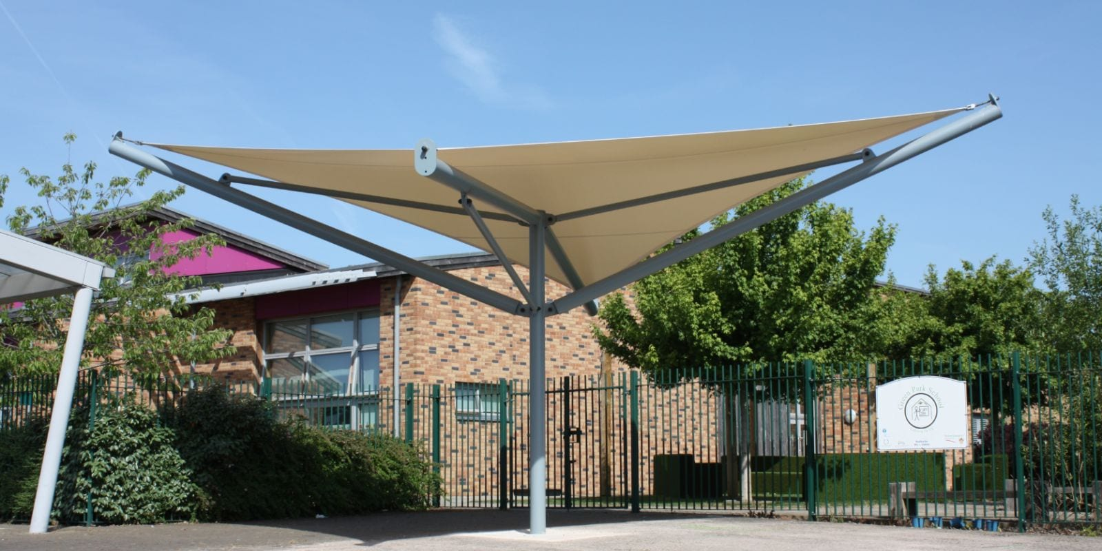 Fabric roof canopy we installed at Green Park Primary School