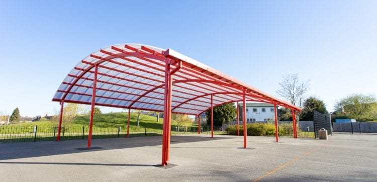 Outdoor canopy we designed for King Edward Sheldon Heath Academy