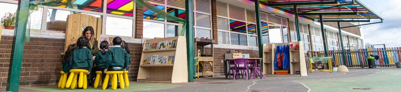 Outdoor classroom at Zaytouna Primary School