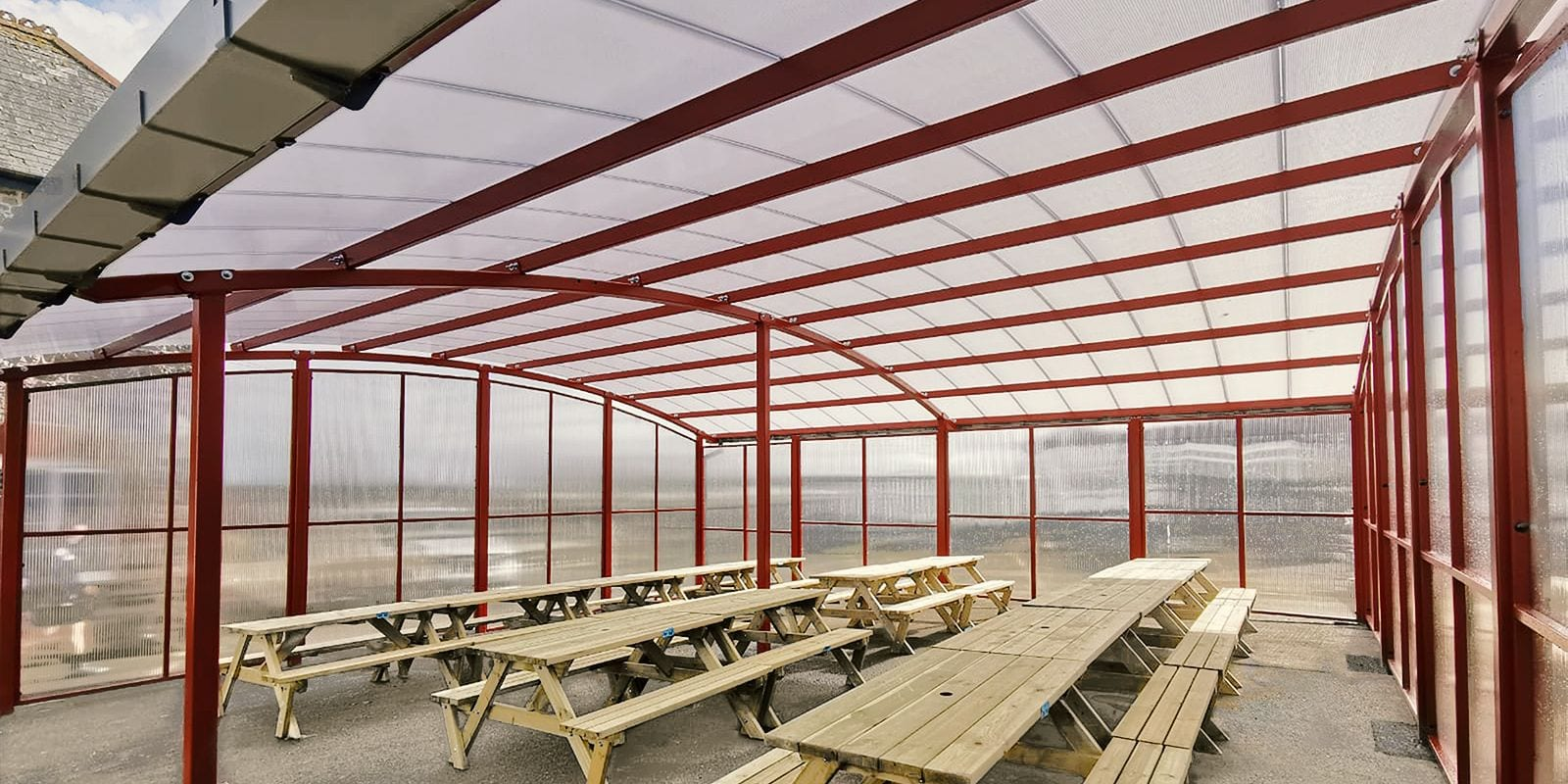 Outdoor dining canopy we designed for Poltair School