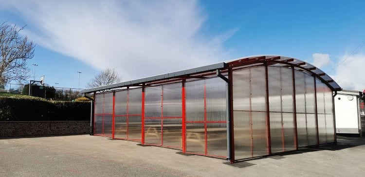 Outdoor dining shelter we made for Poltair School